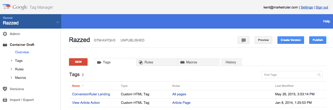 Empty Google Tag Manager tag interface - click here link to create a new tag