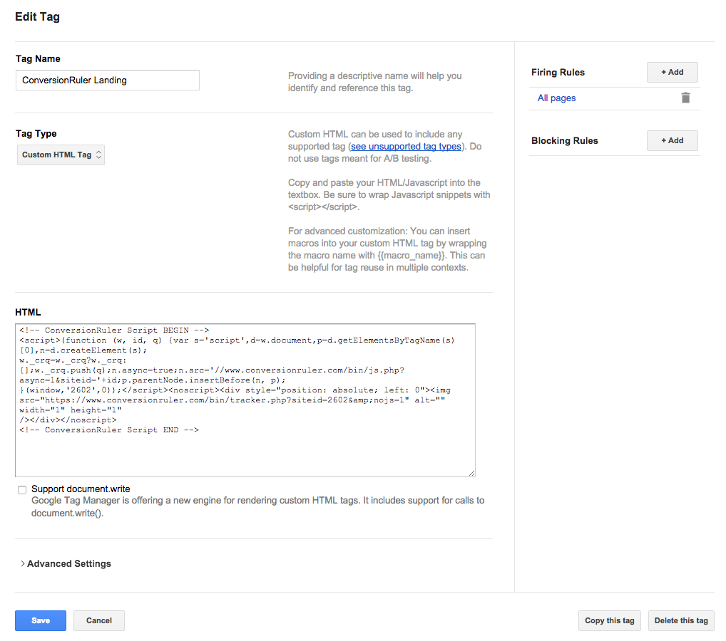 Google Tag Manager new tag interface