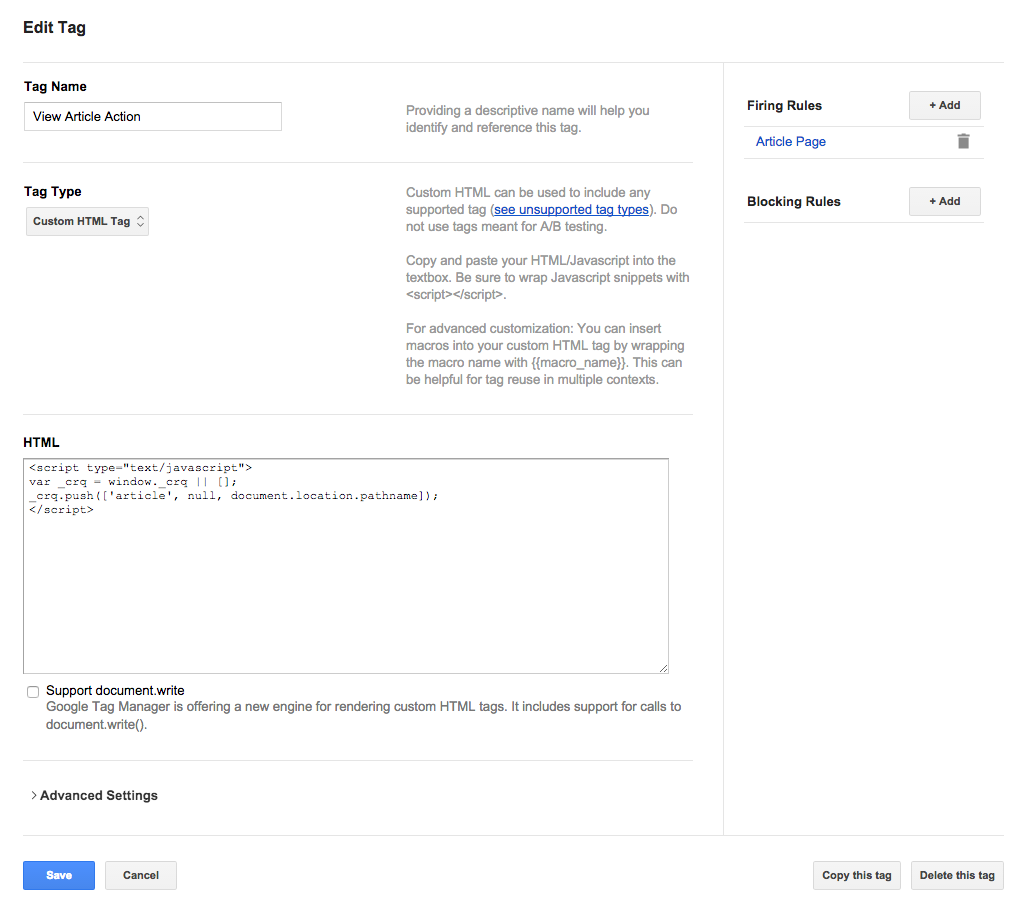 Google Tag Manager new tag interface for new Action